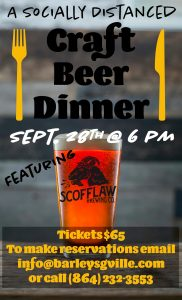 Social Distanced Craft Beer Dinner