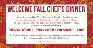 Welcome Fall Chef's Dinner